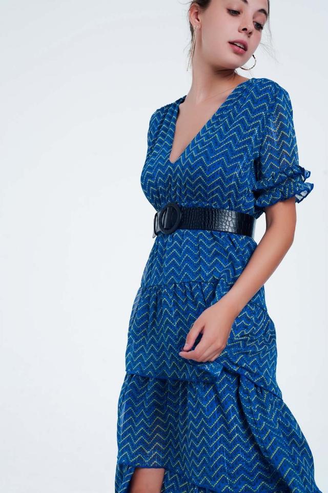 Vestido largo con volantes escalonados en color azul
