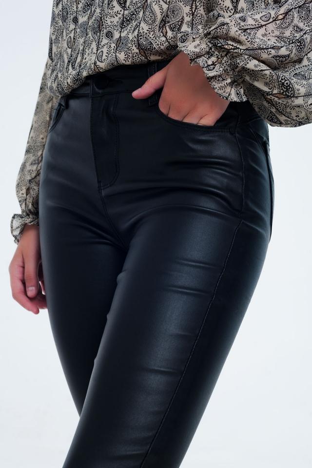 Pantalones ajustados con cintura de talle alto negro