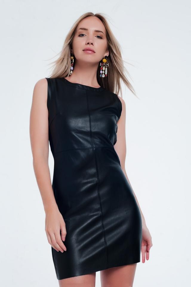 Vestido negro recto combinado de cuero sintético
