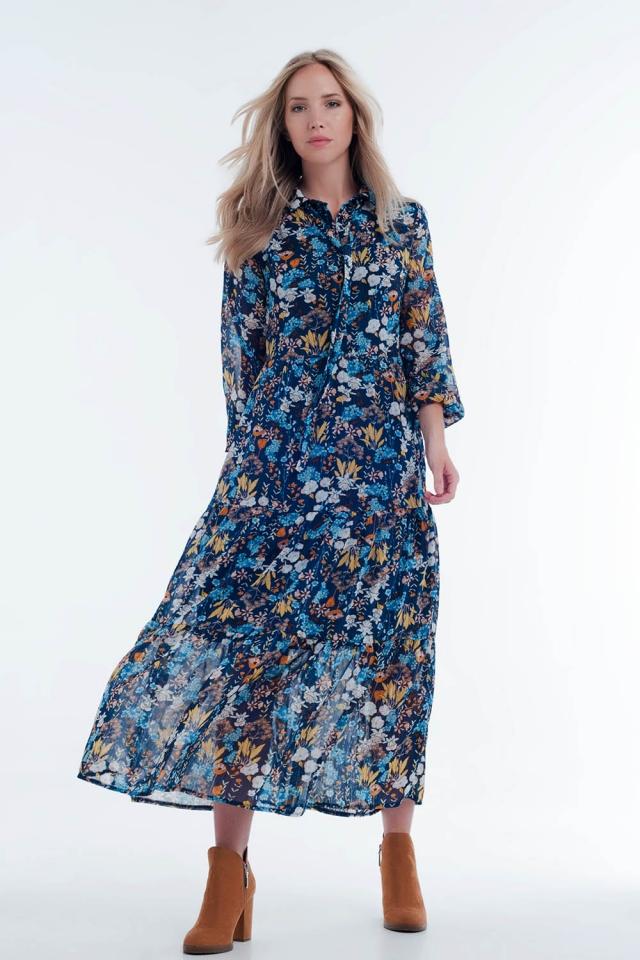 Vestido camisero midi a capas transparentes en diseño floral azul