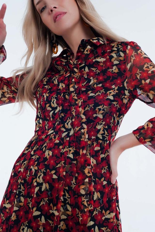 Vestido largo con lazo al cuello y estampado floral rojo