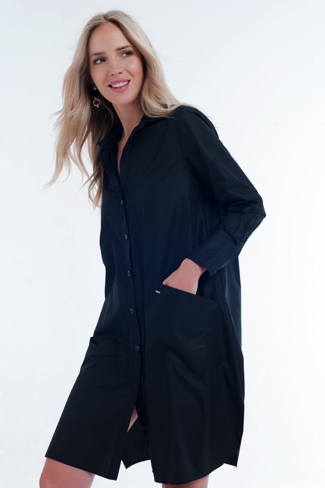 Vestido negro camisero midi con diseño utilitario con bolsillos