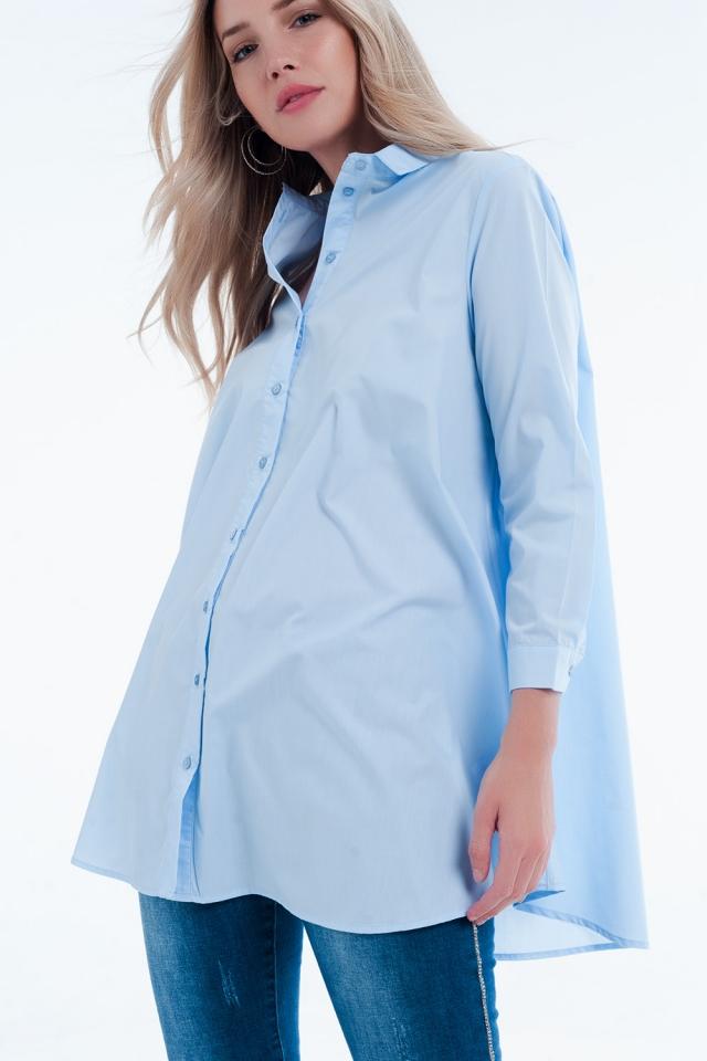 Camisa vestido larga azul en popelin