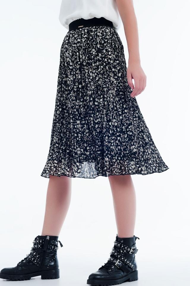 Falda midi plisada con estampado color negro