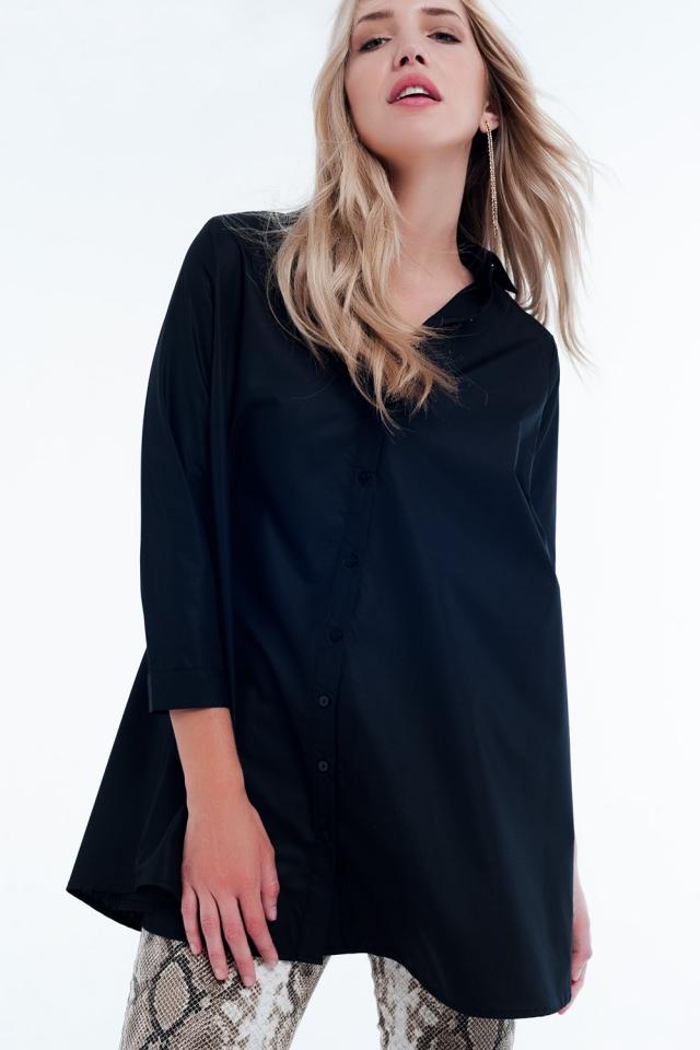 Camisa vestido larga negra en popelin