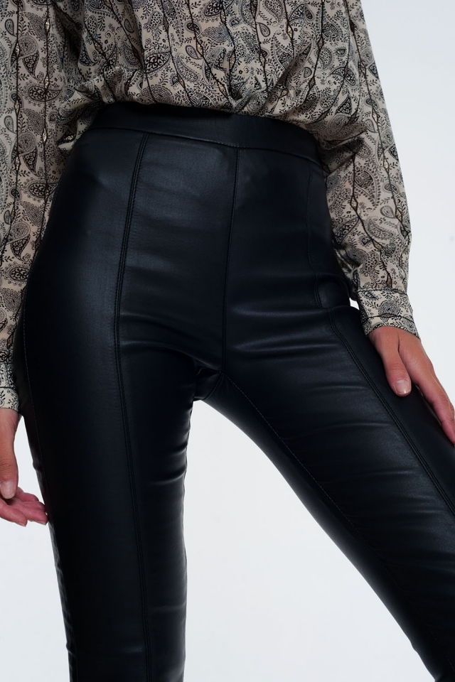 Leggings de efecto cuero con cinturilla elástica