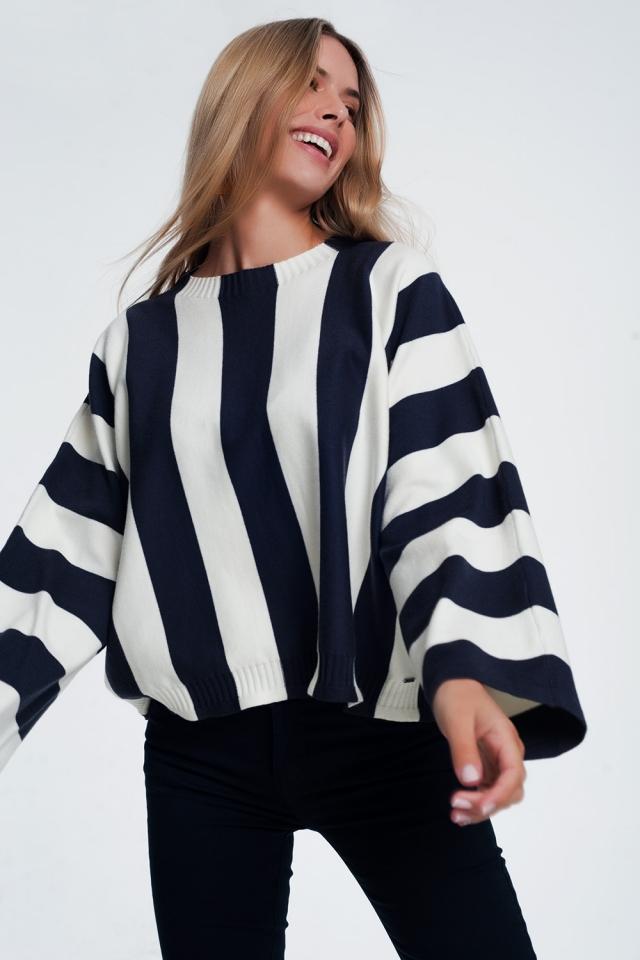 Jersey con cuello redondo a rayas monocromáticas azul marino