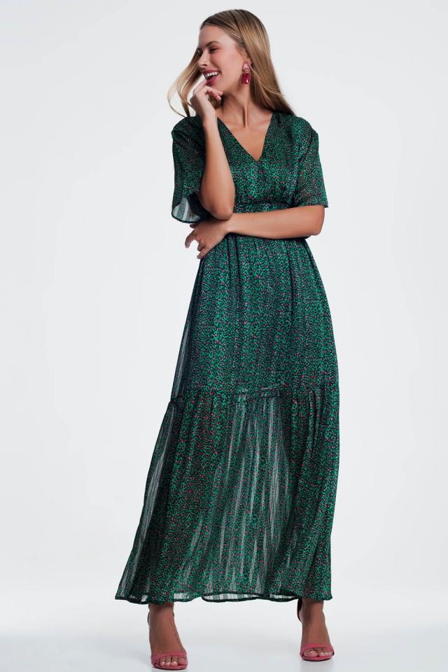 Vestido Verde largo a capas con estampado