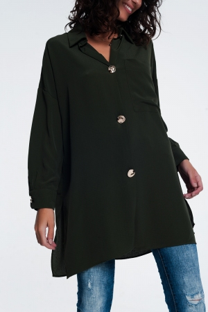 Camisa extragrande caqui de manga larga con detalle de botones