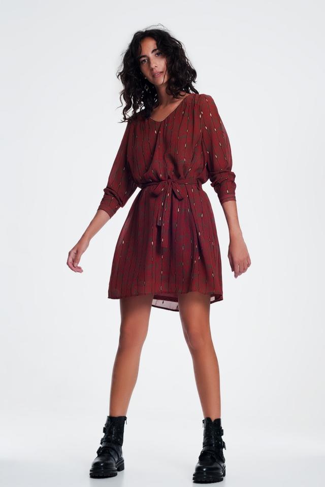 Vestido con cinturón en estampado vintage color caldera