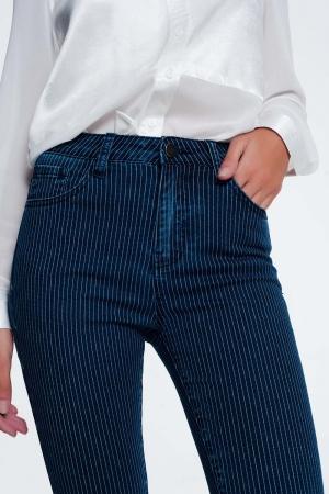 Jeans ajustados a rayas