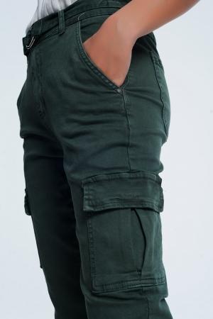 Pantalon de estilo cargo en color caqui