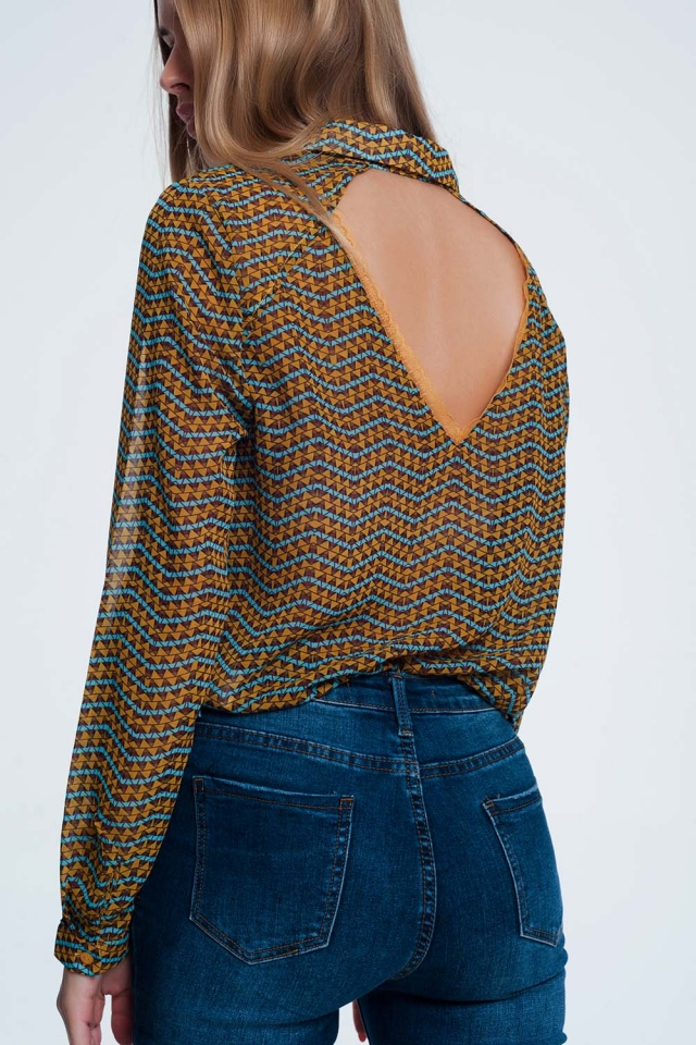 Camisa amarilla estilo western estampada de manga larga