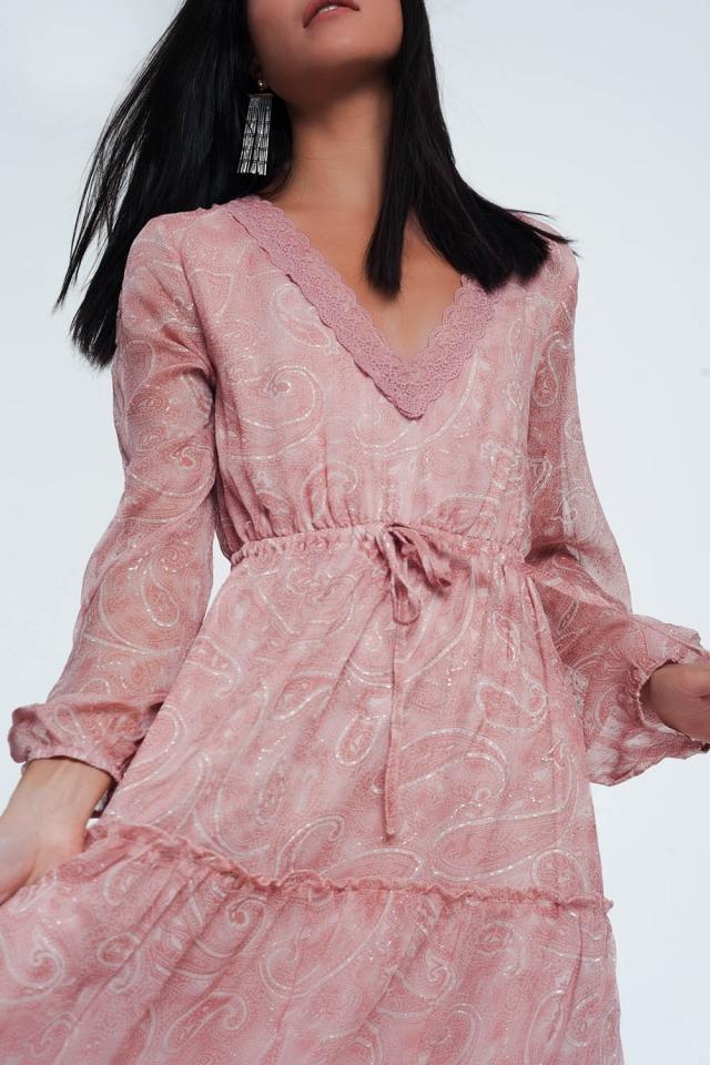 Vestido amplio largo con diseño Paisley y mangas con volumen de color rosa