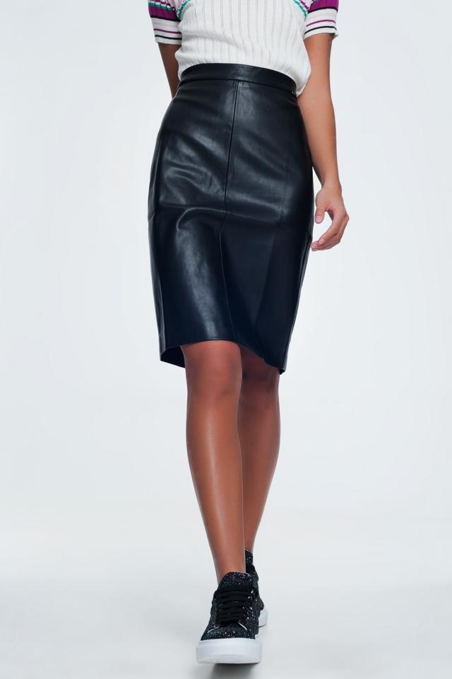 Falda lápiz en piel sintética color negro
