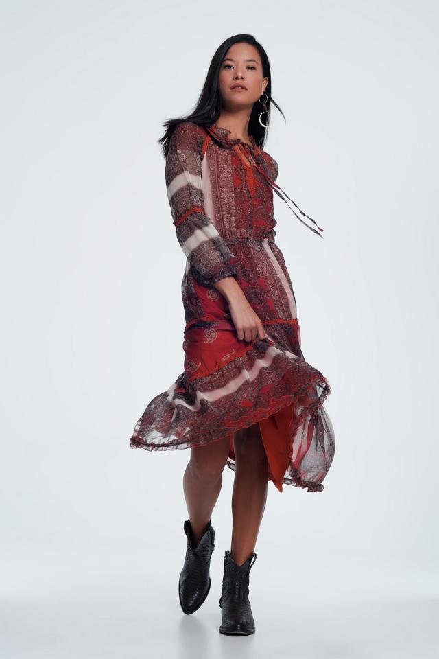 Vestido largo con estampado floral transparente de cachemir