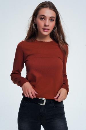 Jersey de cuello redondo en cámel