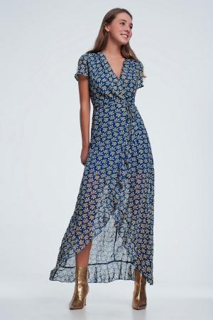 vestido midi Azul con diseño cruzado y estampado floral con volantes