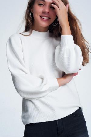 Jersey de cuello redondo en color hueso