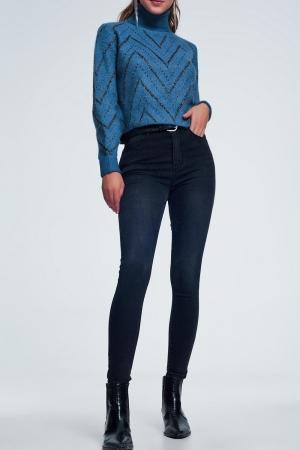 Jeans negros de cintura alta con lavado ligero