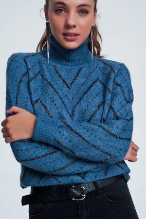 Jersey de punto de cuello alto con diseño texturizado
