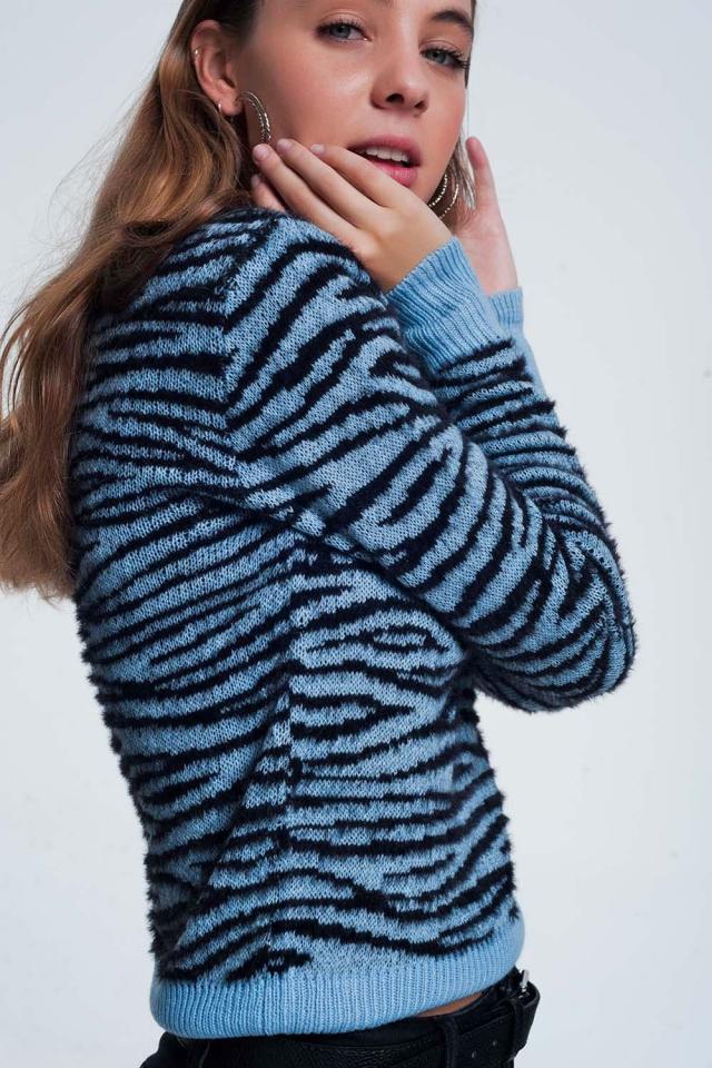 Jersey con estampado de tigre por toda la prenda en color azul