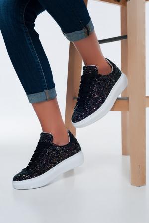 Zapatillas negras gruesas con cordones y diseño de purpurina