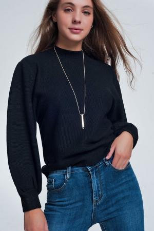 Jersey de cuello redondo en color negro