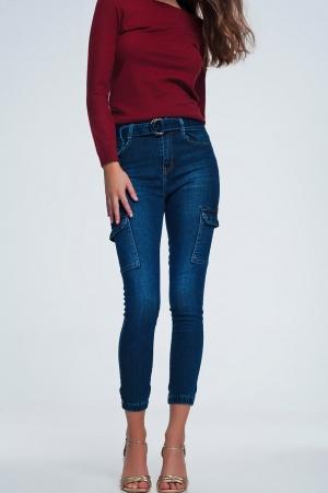Pantalones cargo de denim azul