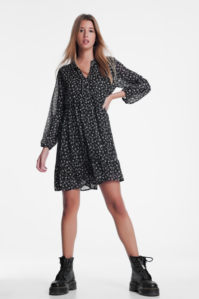 Black mini dress with floral print