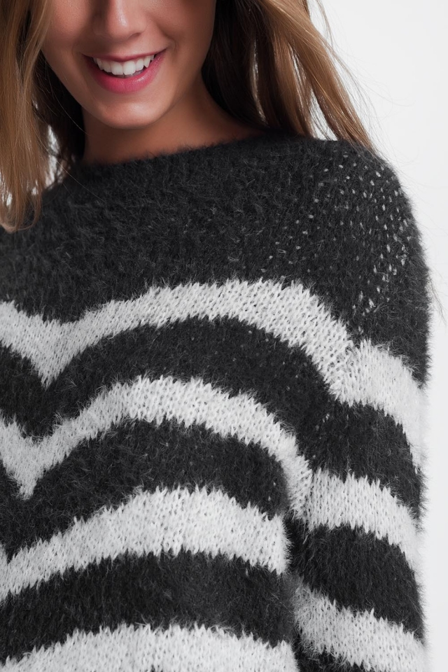 Jersey de rayas suaves en gris
