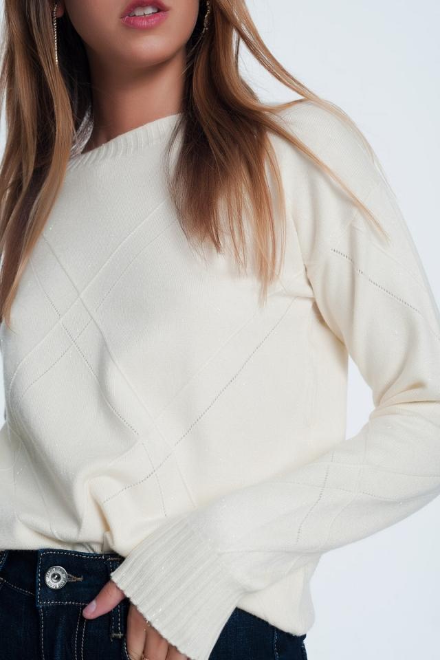 Jersey texturizado con cuello redondo en crema
