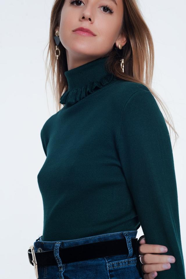 Jersey de corte slim de canalé con detalle de volante en verde