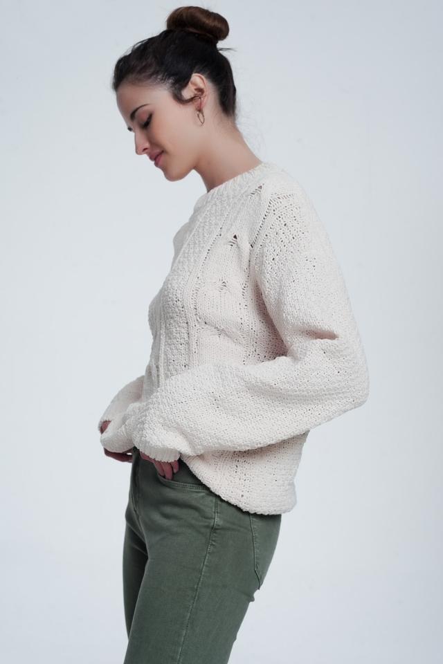 Jersey de ochos extragrande en color crema