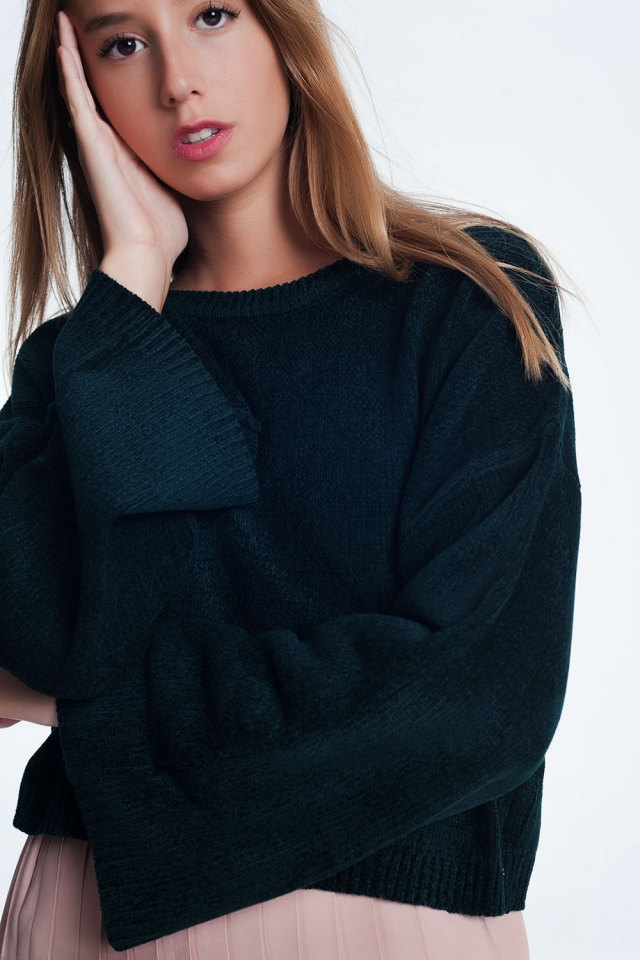 Jersey corto con manga acampanada en negro