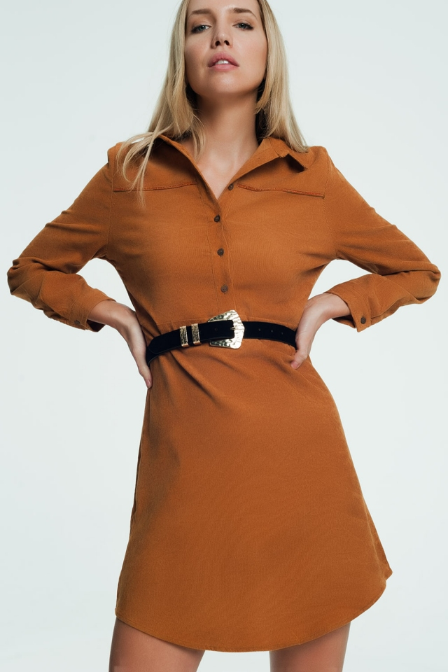 Camel color mini dress with button closure