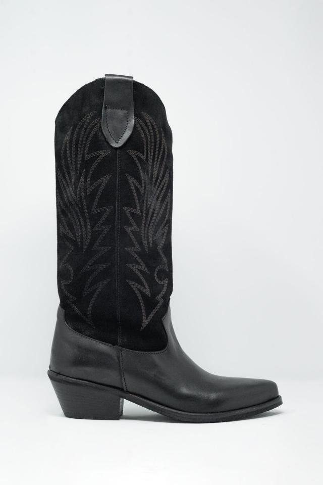 Botas estilo cowboy de pernera alta en negro