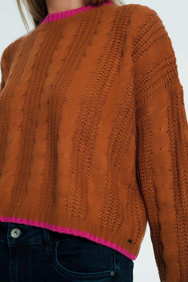 Jersey marron de ochos con ribete de rayas en contraste