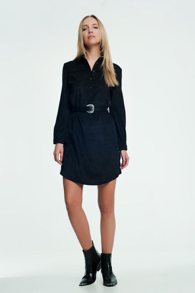 Vestido corto camisero de pana color negro