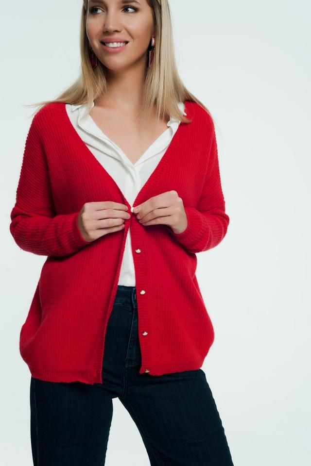 Cárdigan Rojo con botones delanteros tipo perla