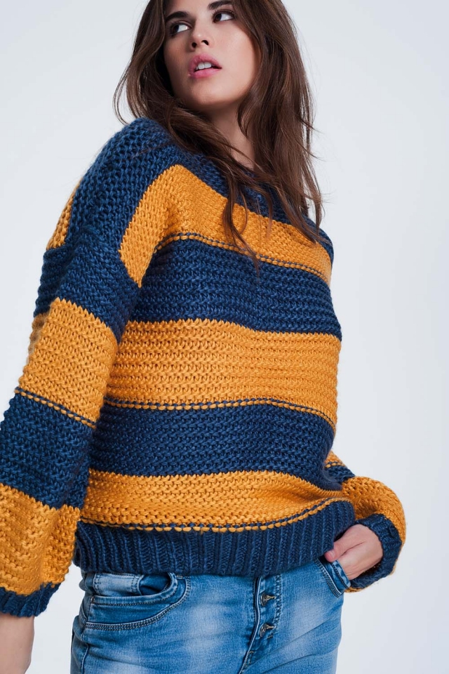 Mostard-colored sweater with stripes