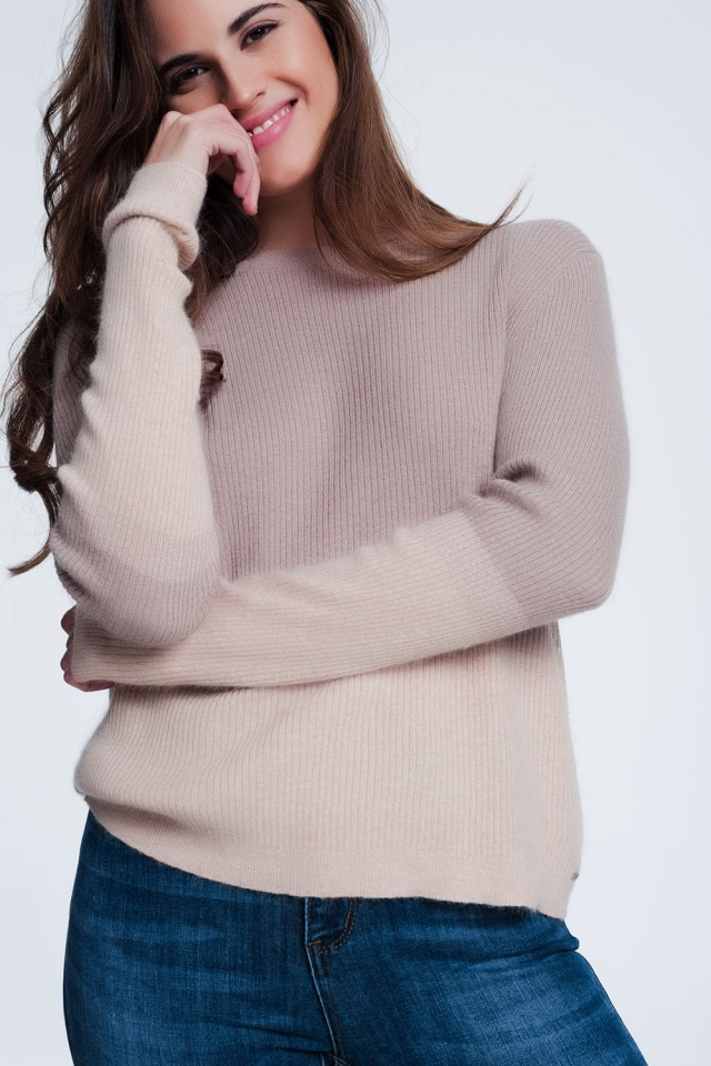 Beige sweatshirt with round neckline