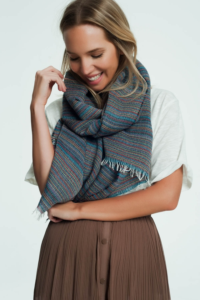Blue scarf with colorful stripe details