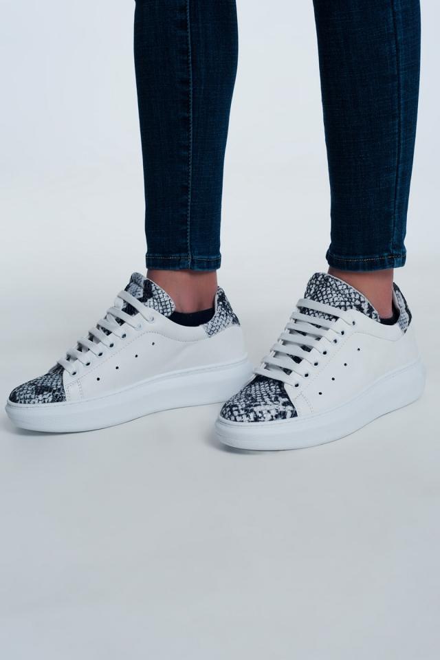 Zapatillas de deporte con estampado de serpiente combinado