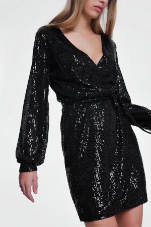 Vestido con diseño cruzado y lentejuelas negro
