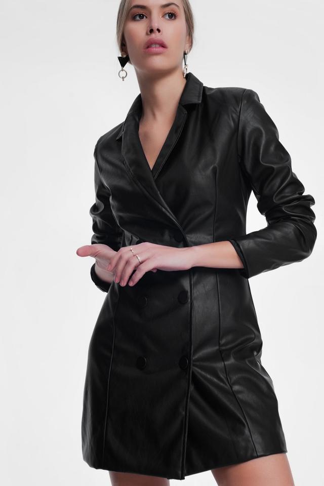 Vestido negro estilo esmoquin de poliuretano