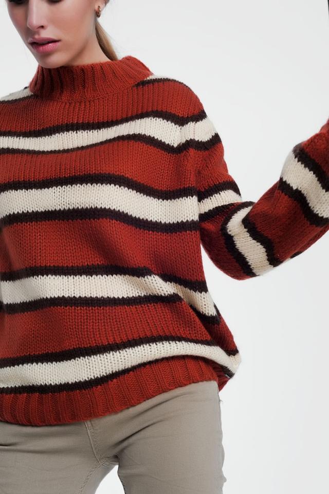 Jersey con detalle de rayas en color caldera