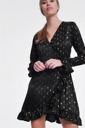 Vestido corto negro cruzado con lunares en dorado metálico