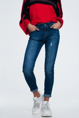 Pantalon vaquero slim con detalle de hilo en colores