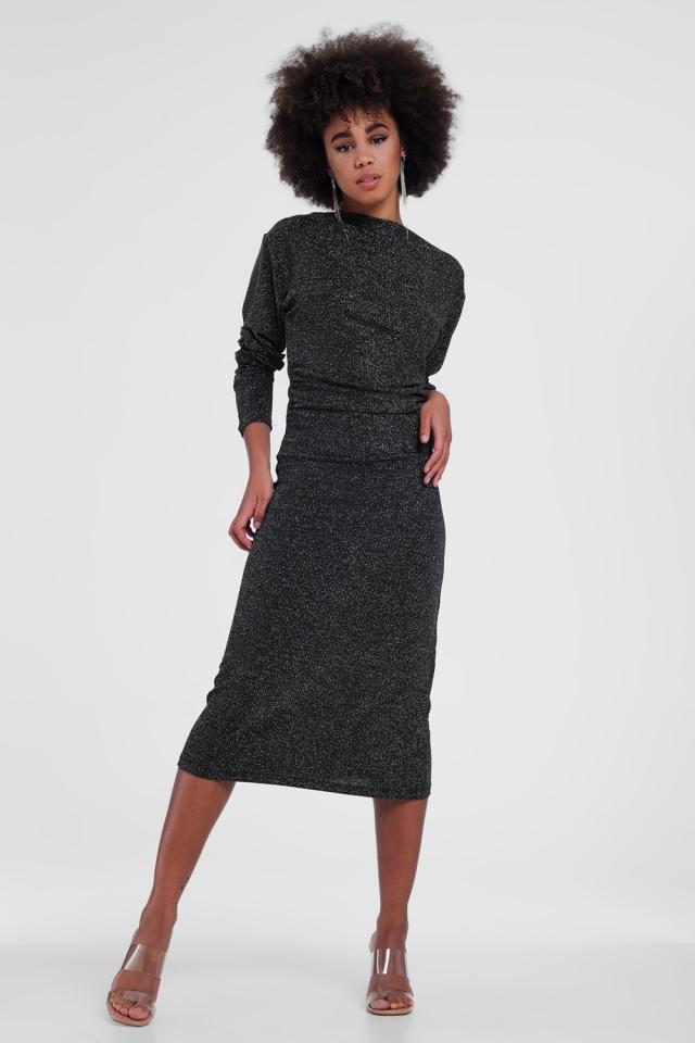 Vestido midi de manga larga con diseño metalizado